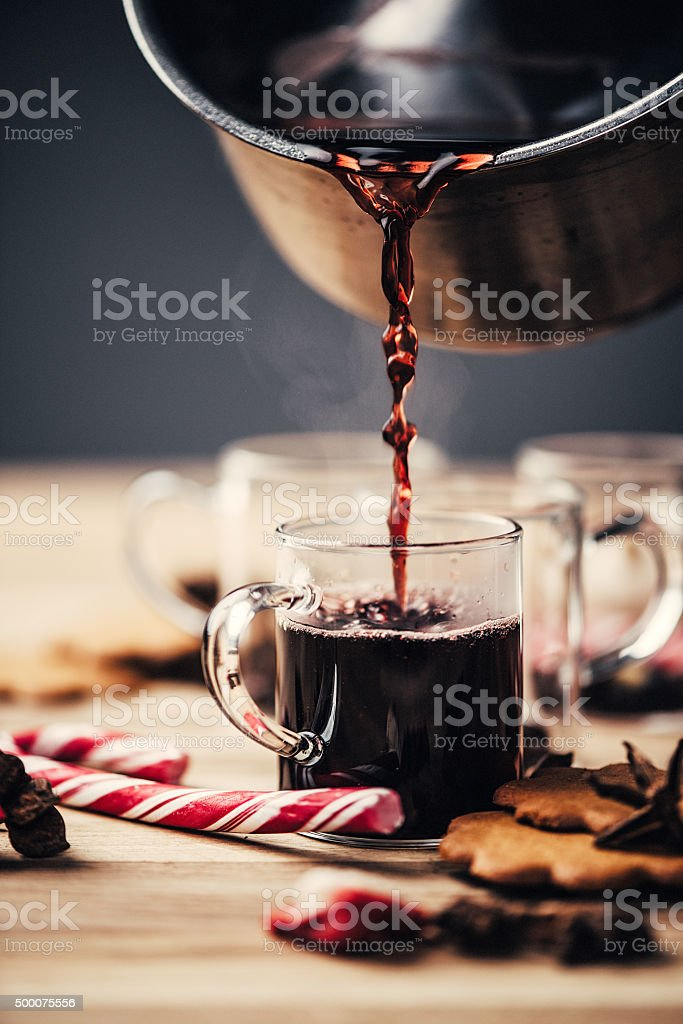 Christmas mulled wine glögg stock photo