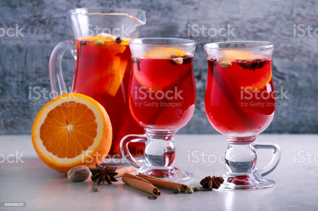Christmas mulled wine or gluhwein stock photo