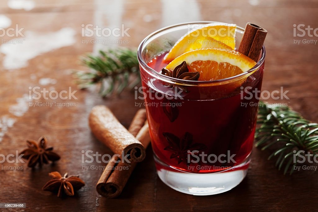 Christmas mulled wine or gluhwein with cinnamon and anise star stock photo