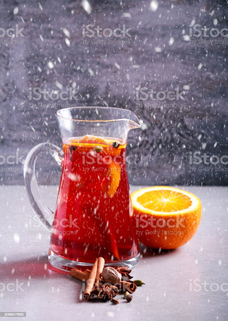 Christmas mulled wine or gluhwein with spices stock photo