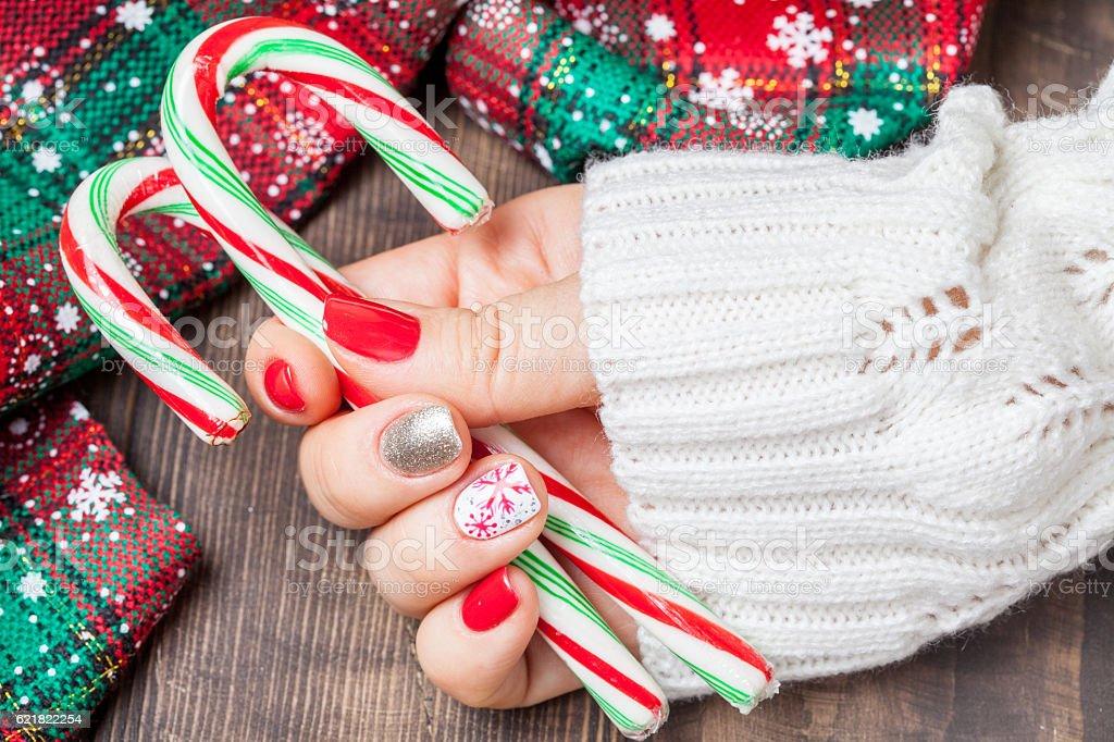 Christmas Nail art manicure stock photo