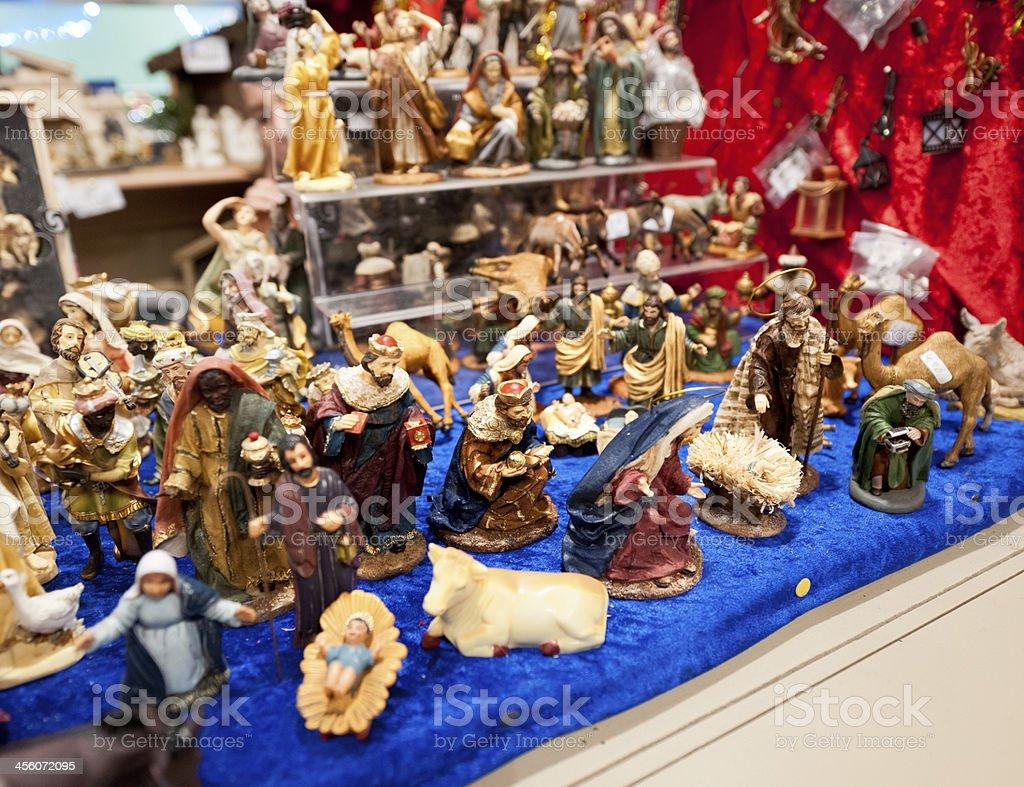 Christmas nativity figurines at market  stall royalty-free stock photo