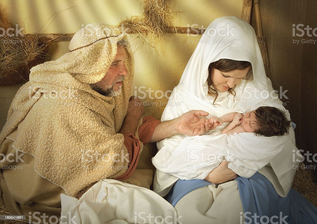 Christmas nativity in a manger royalty-free stock photo