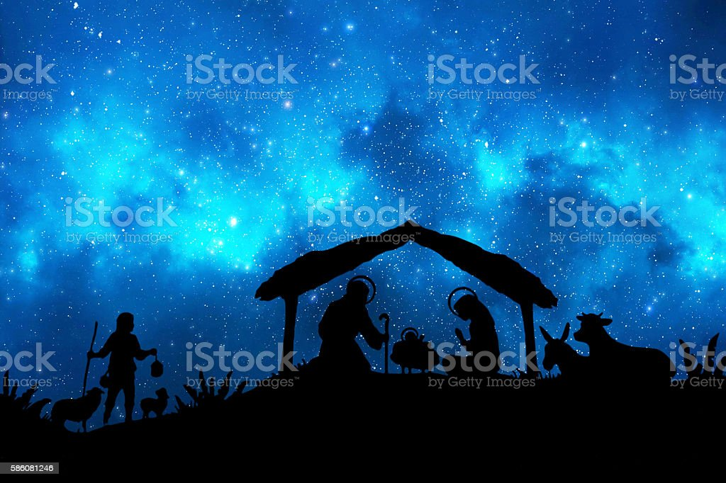 Christmas Nativity in the night stock photo