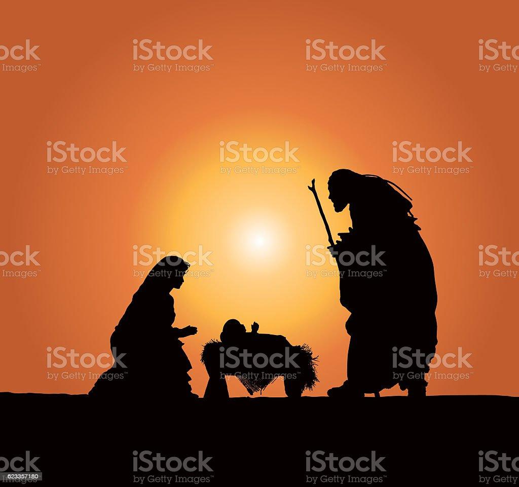 Christmas Nativity Scene; Baby Jesus, Mary and Joseph at Dusk stock photo