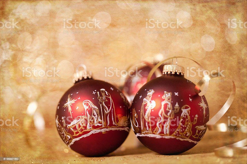 Christmas Nativity Scene Baubles on Gold stock photo