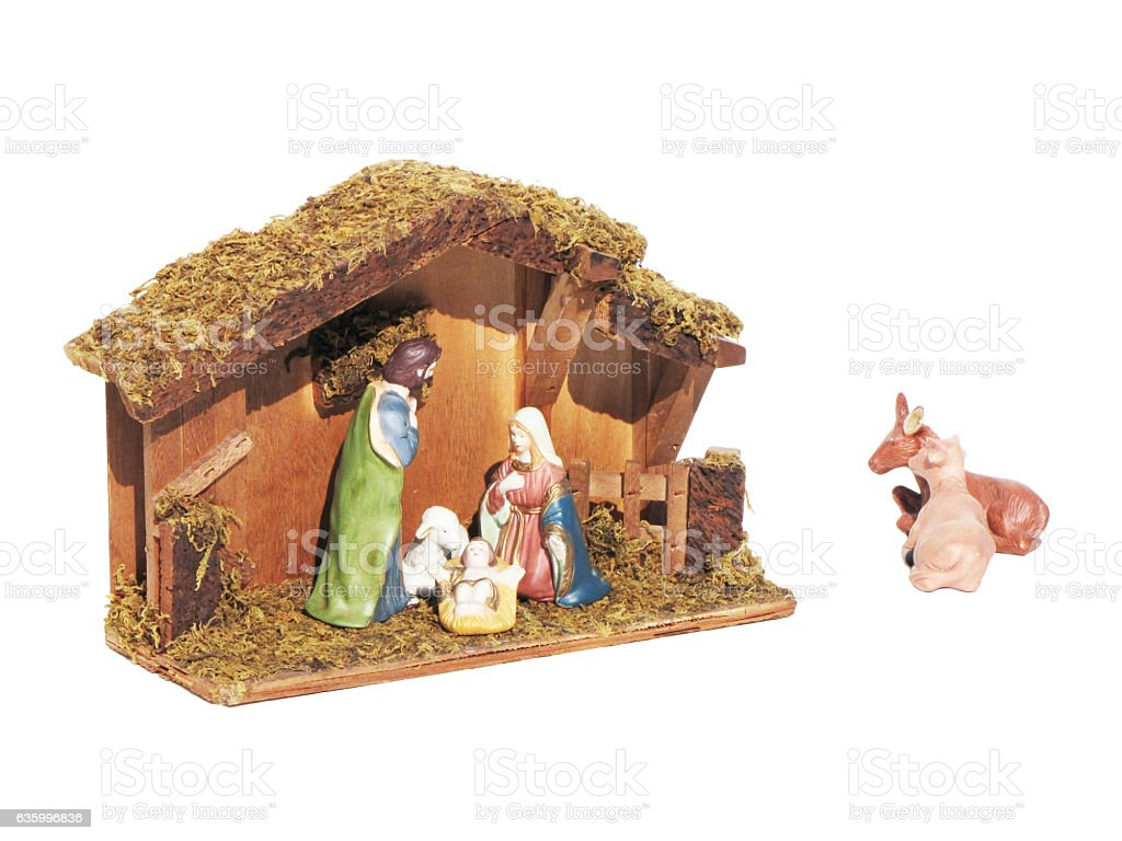 Christmas nativity scene represented with statuettes stock photo