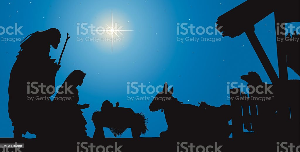 Christmas Nativity Scene, Three Wise men in Front of Stable stock photo