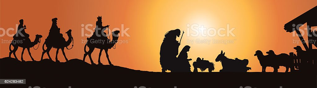 Christmas Nativity Scene, Three Wisemen in Front of Stable stock photo