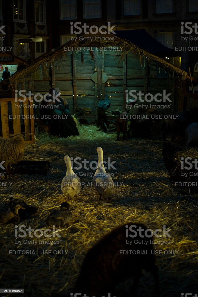 Christmas nativity scene with people stock photo