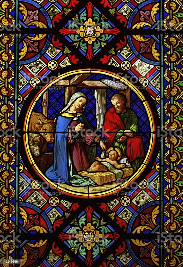 Christmas nativity. Stained glass window stock photo