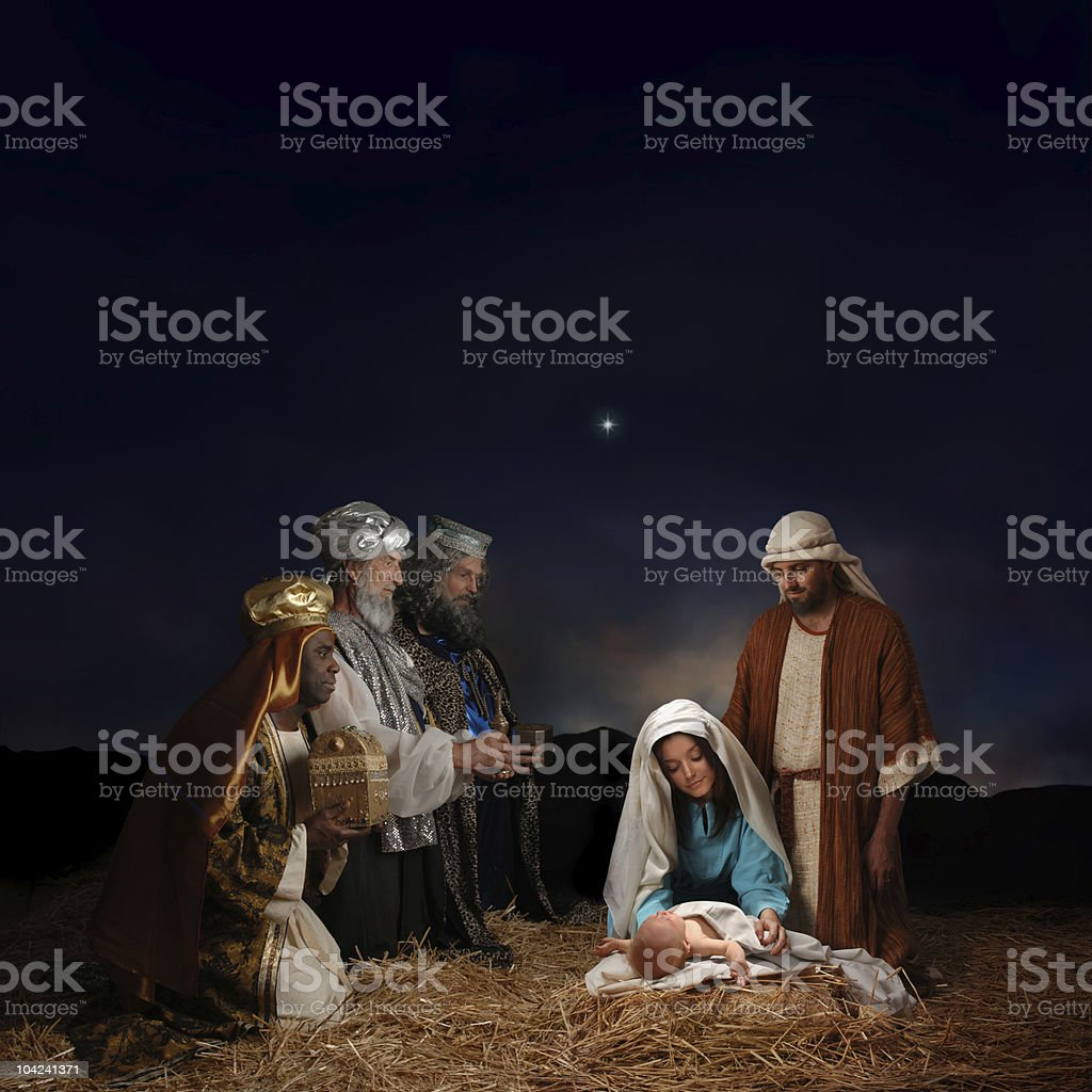 Christmas Nativity with Wise Men stock photo