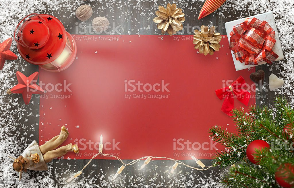 Christmas New Year background image with decorations. stock photo