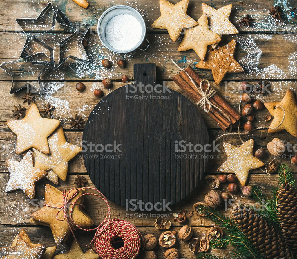 Christmas, New Year background with dark wooden board in center stock photo