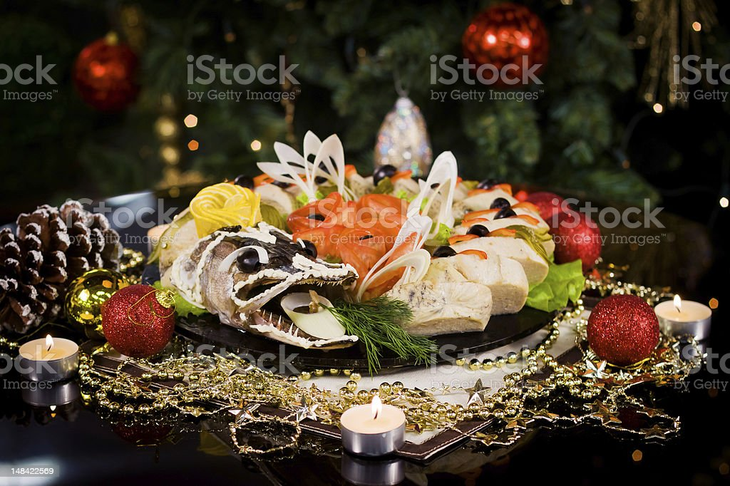 Christmas new year dinner stock photo