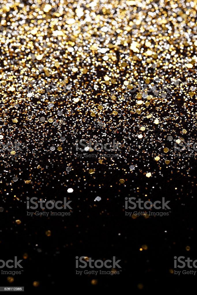 Christmas New Year Gold Silver Glitter background Holiday abstract texture stock photo