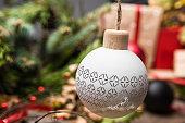 Christmas / New Year set with christmas ball close up