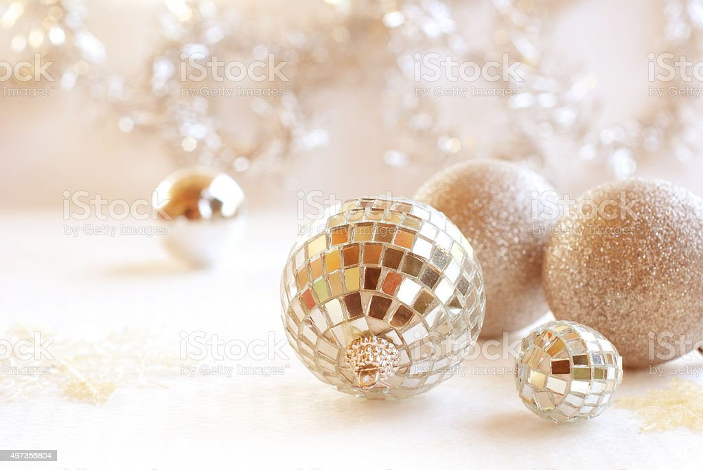 Christmas, New Year silver ball, snow on white silver background stock photo