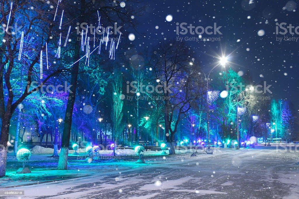Christmas Night city. stock photo