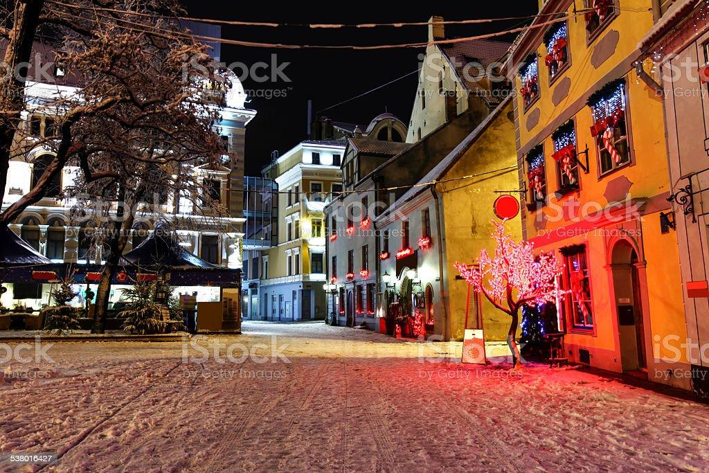 Christmas night in Old Riga in Latvia stock photo