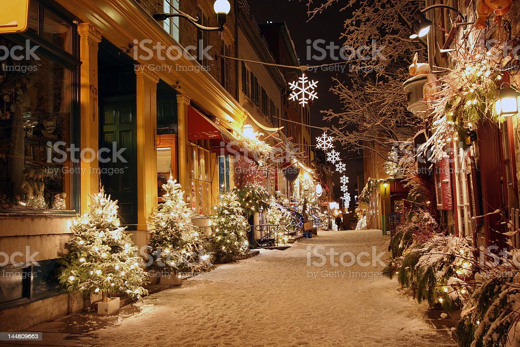 Christmas night in Quebec City stock photo