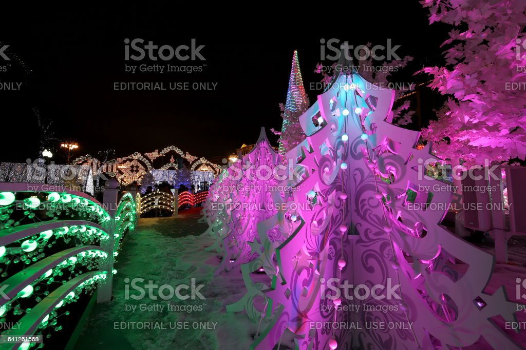 Christmas night Moscow ---  Music Forest on Pushkin Square (Festival 'Journey to Christmas'),  Russia stock photo
