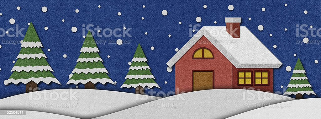 Christmas night  recycled papercraft. royalty-free stock photo