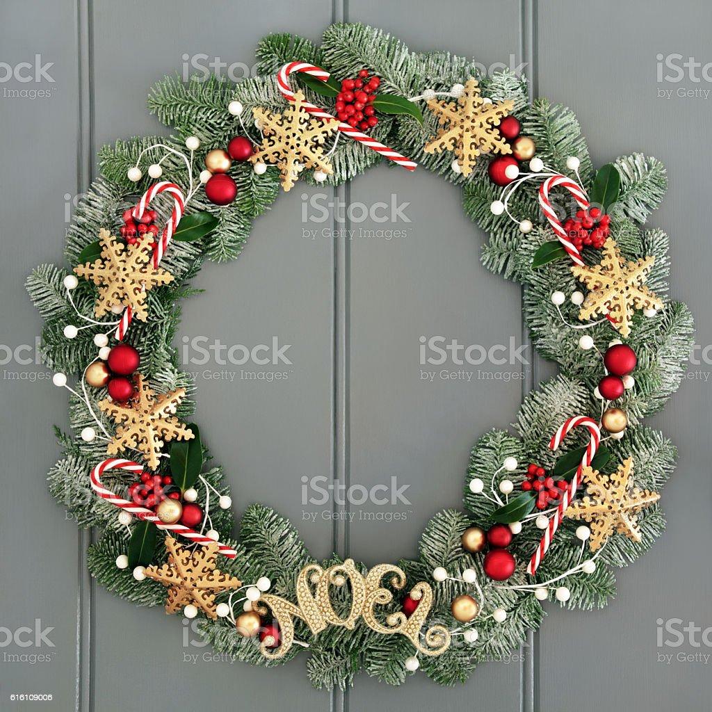 Christmas Noel Wreath stock photo