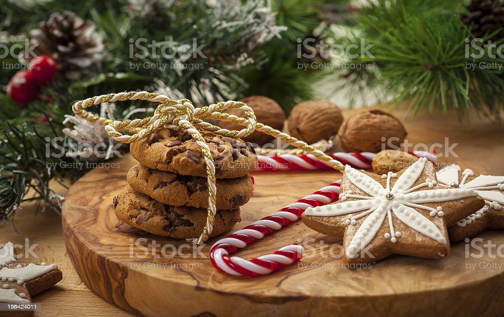 Christmas nut and chocolate cookies royalty-free stock photo