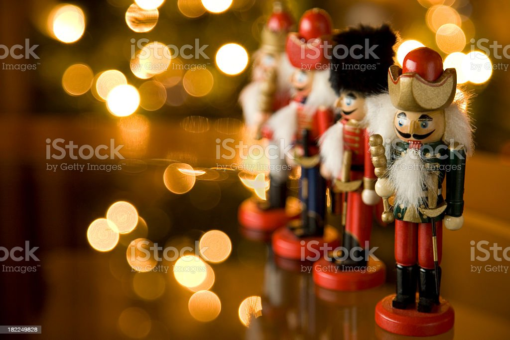 Christmas nutcracker soldiers on a mantle stock photo