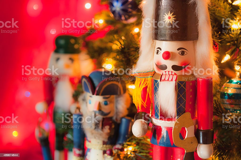 Christmas nutcracker soliders in front of Christmas Tree (P) stock photo