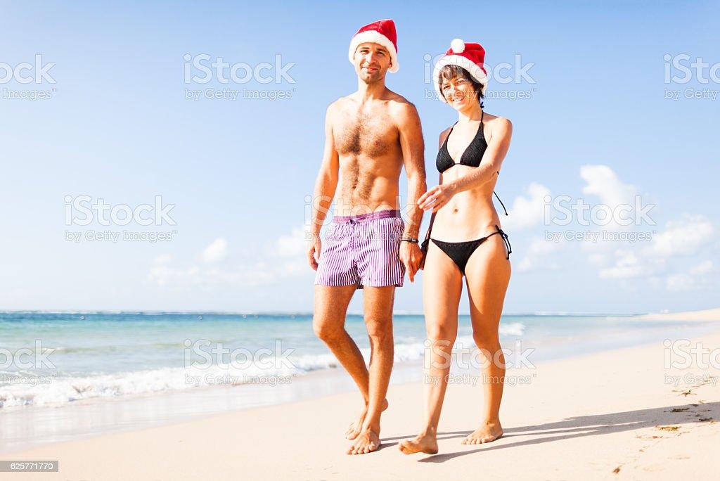 christmas on a beach stock photo