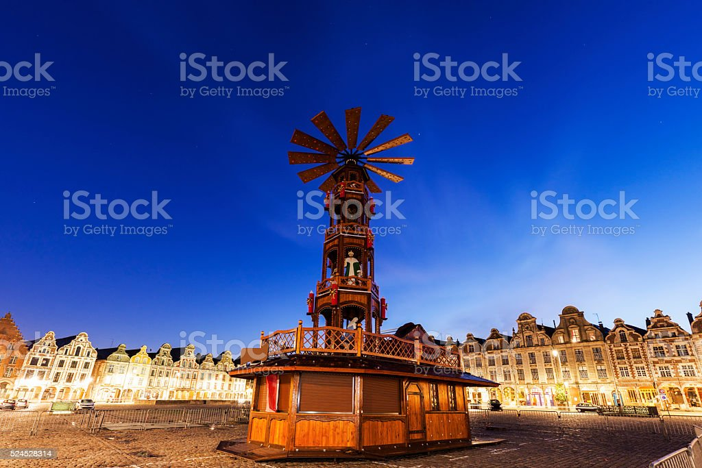 Christmas on Grand Place in Arras stock photo