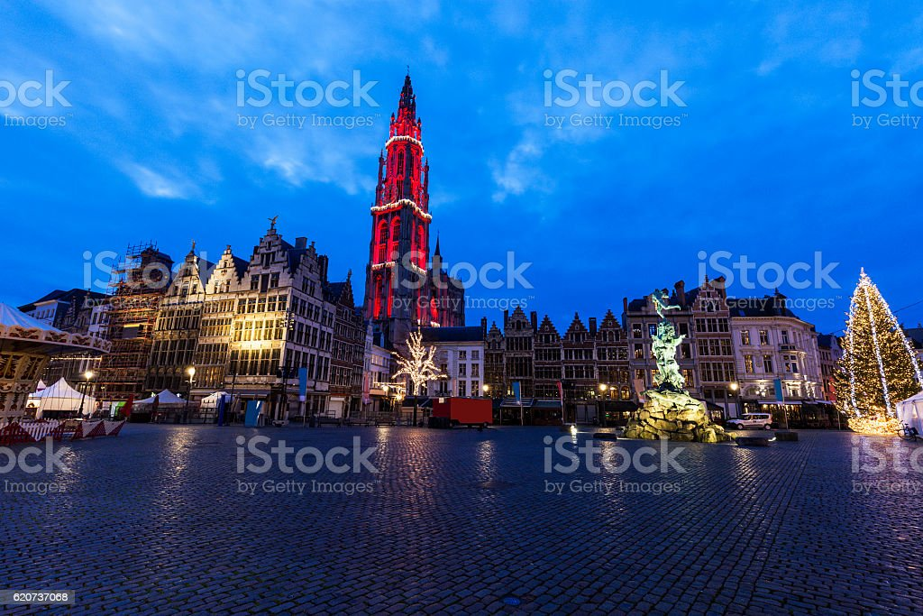 Christmas on Grote Markt in Antwerp stock photo