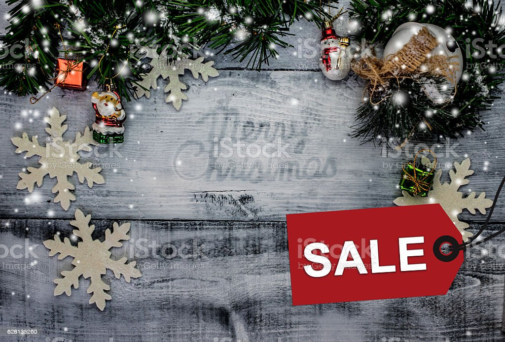 Christmas on sale, Promotion with price tag on Winter stock photo