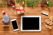 Christmas online shopping background
