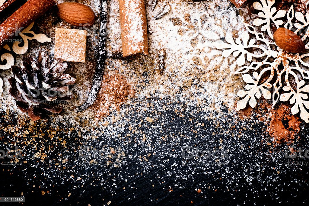 Christmas or New Year background of spices stock photo