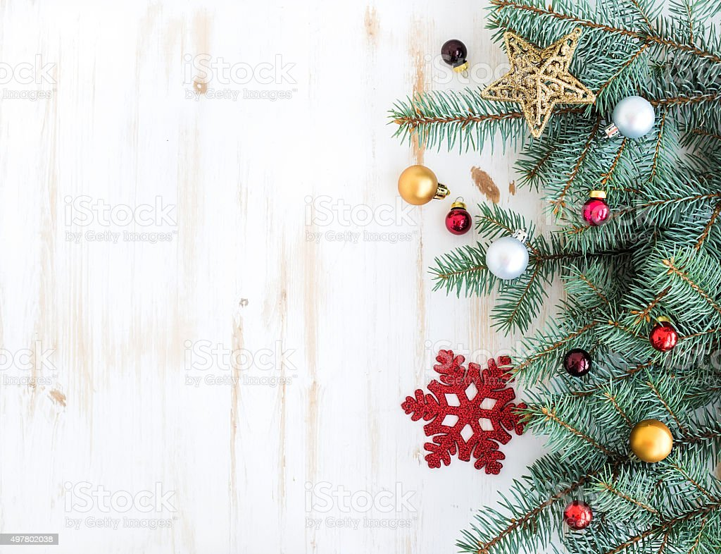 Christmas or New Year decoration background: fur-tree branches, colorful stock photo