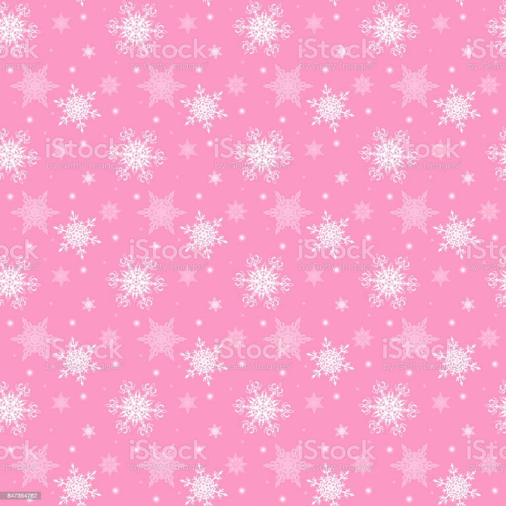 Christmas or new year seamless pattern ,white  snowflakes on the pink  background stock photo