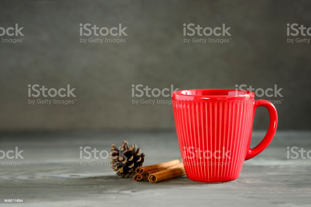 Christmas or New Year winter holidays hot drink in a red cup stock photo