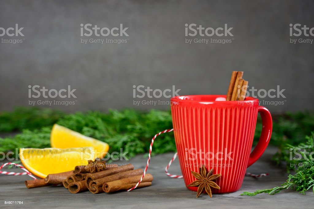 Christmas or New Year winter holidays warming alcohol cpicy drink stock photo