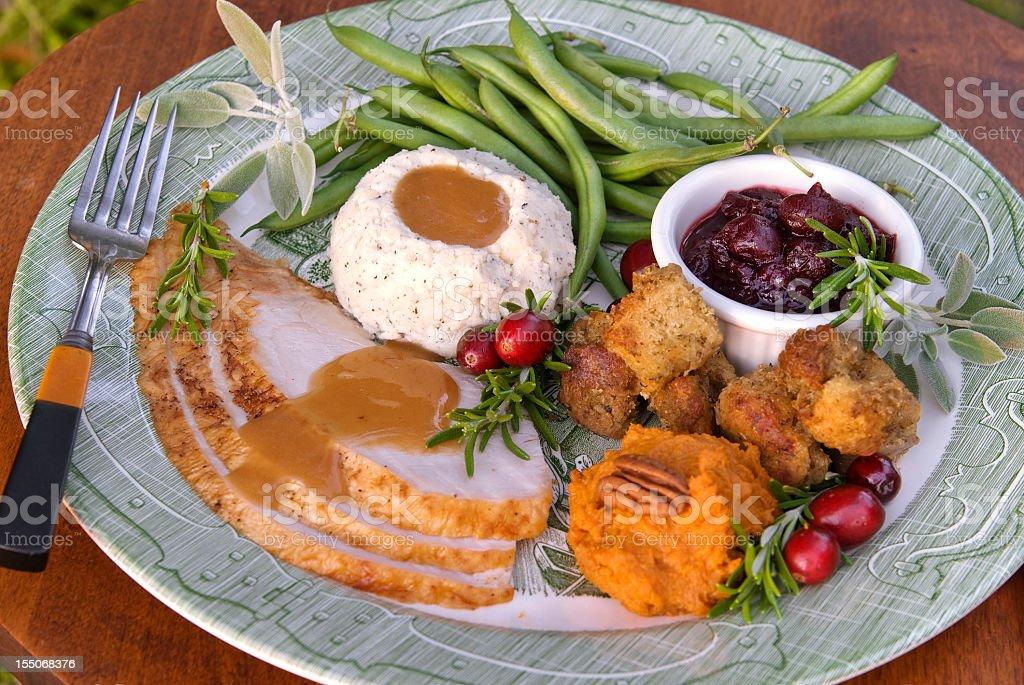 Christmas or Thanksgiving Roast Turkey Dinner Plate stock photo