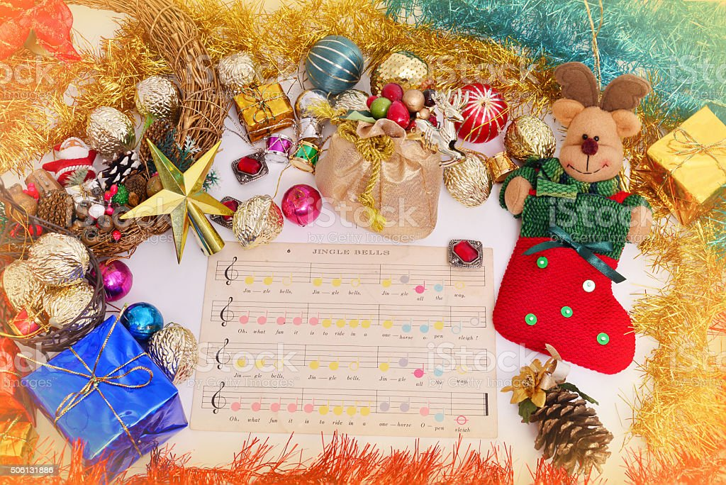 Christmas Ornament and Sheet Music stock photo