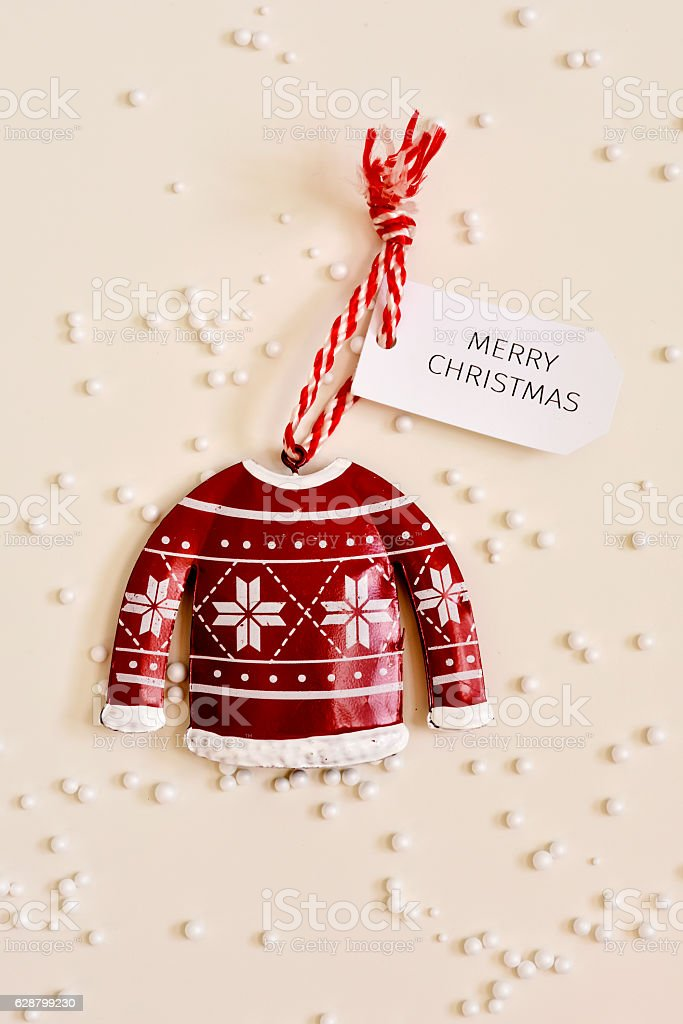 christmas ornament and text merry christmas stock photo