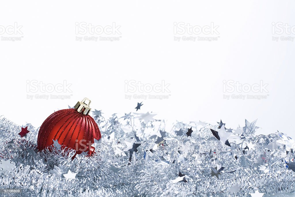 Christmas ornament and white tinsel royalty-free stock photo