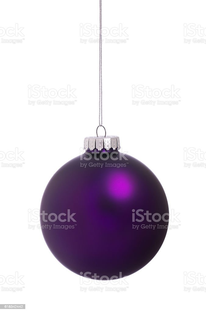 Christmas Ornament Bauble Purple Isolated on White Background stock photo