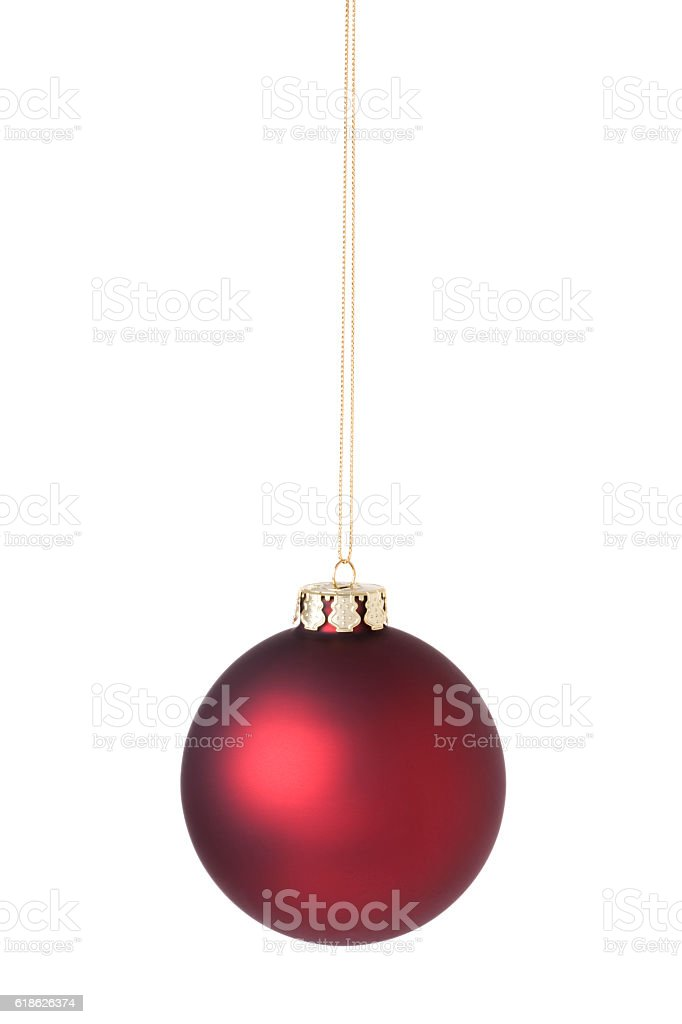Christmas Ornament Bauble Red Isolated on White Background stock photo