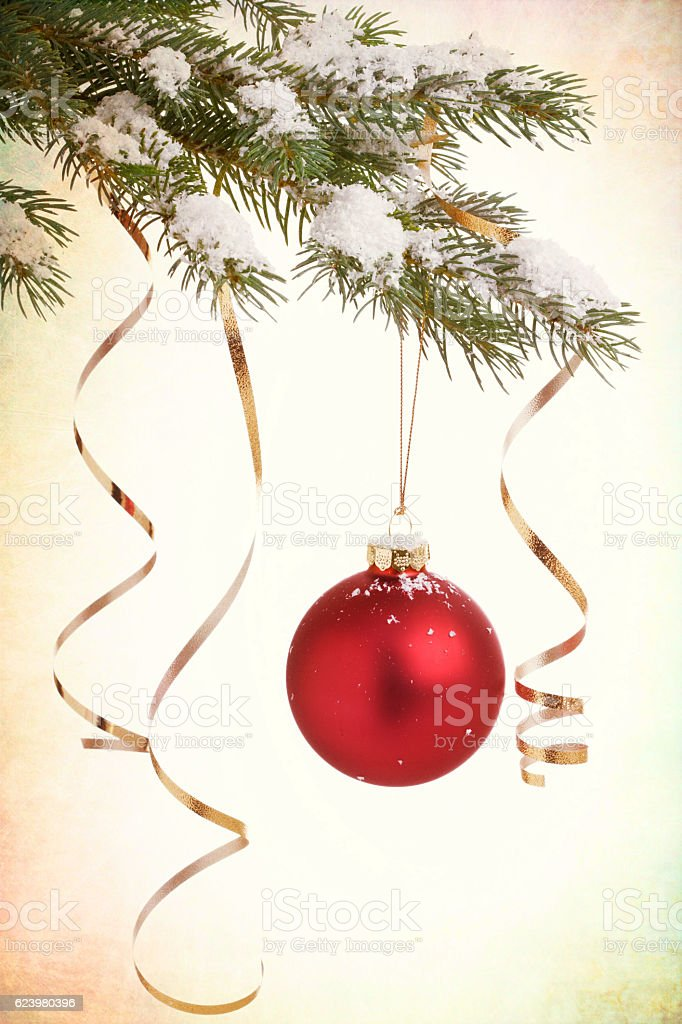 Christmas Ornament Baubles and Decorations with Ribbon Isolated on White stock photo