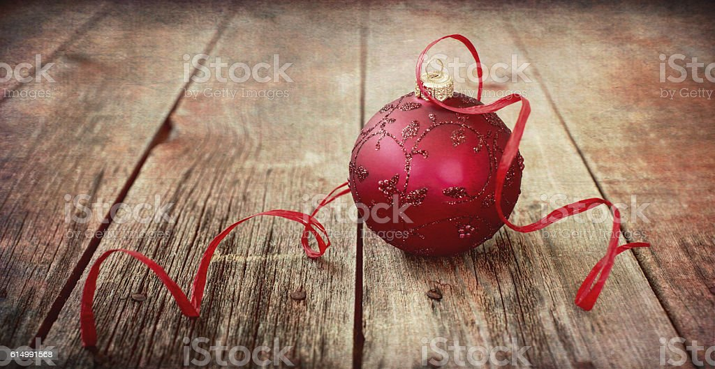Christmas Ornament Baubles, on Old Wood Background stock photo