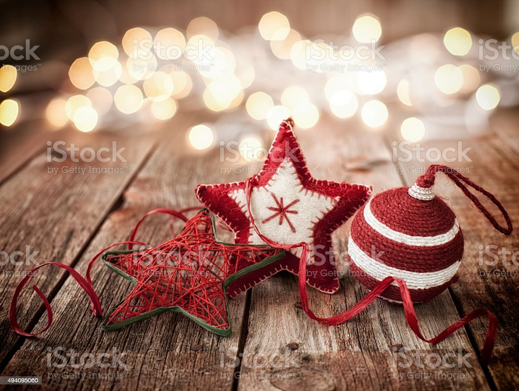 Christmas Ornament Baubles on Old Wood Background with Defocused stock photo